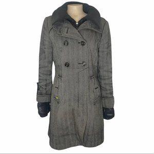 SOIA & KYO Women's Gray/Black Herringbone Winter Wool/Down Coat Jacket Size L